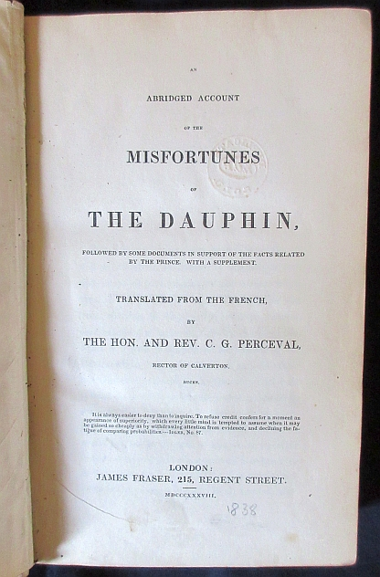 Image for An Abridged Account of the Misfortunes of the Dauphin