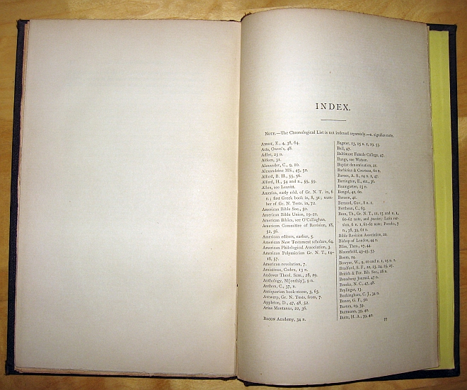 Image for A Critical Bibliography of the Greek New Testament as Published in America