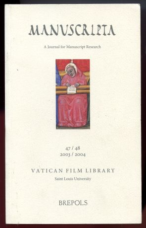 Image for Manuscripta. A Journal for Manuscript Research 47/48 2003/2004