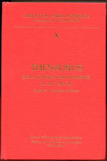 Image for Thesaurus de la Litterature Interdite au XVIe Siecle
