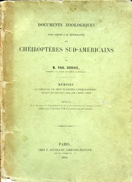 Image for Documents Zoologiques pour Servir a la Monographie des Cheiropteres sud-Americains.  with  9 leaves of plates