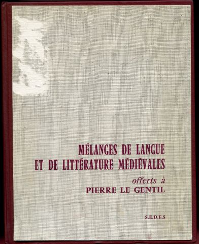 Image for Melanges de Langue et de Litterature Medievales