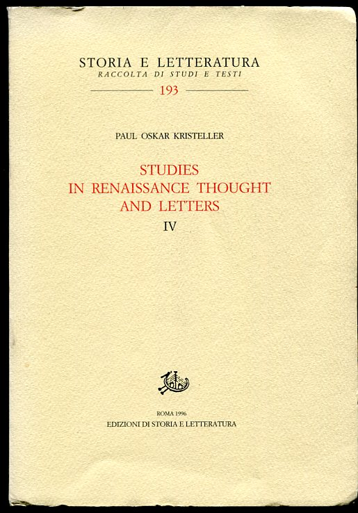 Image for Studies in Renaissance Thought and Letters. IV