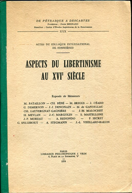 Image for Aspects Du Libertinisme Au Xvie Siecle (French Edition)
