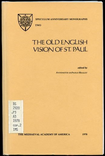 Image for The Old English Vision of St. Paul