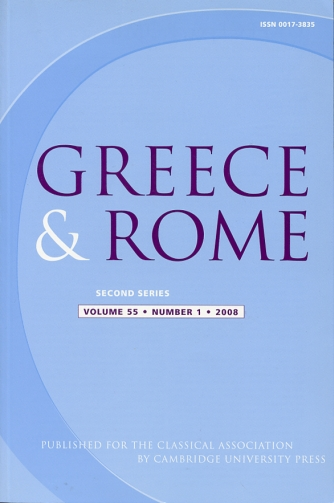 Image for Greece & Rome Second Series Volume 55, Number 1, 2008