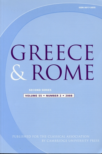Image for Greece & Rome Second Series Volume 55, Number 2, 2008