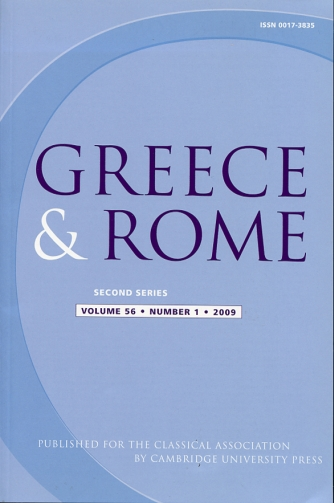 Image for Greece & Rome Second Series Volume 56, Number 1, 2009