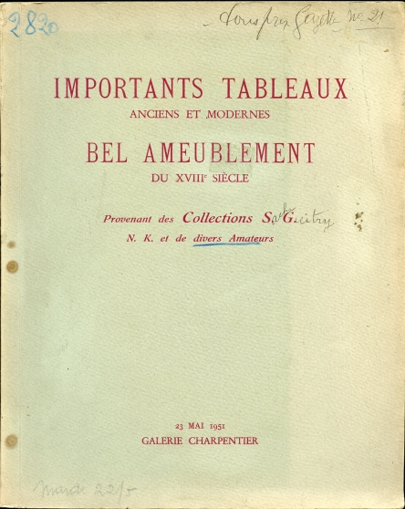 Image for Tableaux Modernes Tableaux Anciens Objets D'Art Et De Bel Ameublement Du Xviiie Siecle. With Prices Realized Provenant De La Collection Sacha Guitry 23 Mai 1951