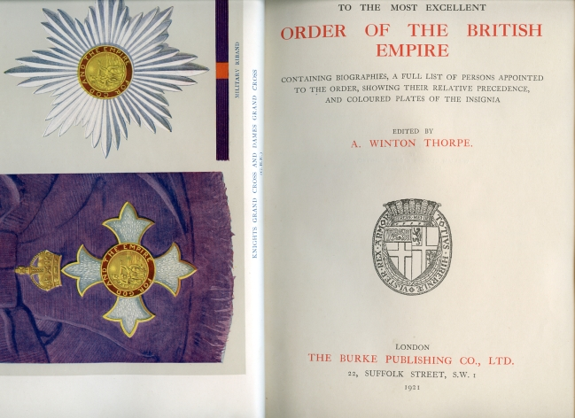 Image for Burke's Handbook to the Most Excellent Order of the British Empire Containing Biographies, a Full List of Persons Appointed to the Order, Showing Their Relative Precedence, and Coloured Plates of the Insignia