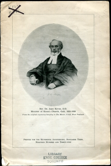 Image for Rev. Dr. John Bayne D.D. Minister of Knox's Church, Galt, 1835-1859