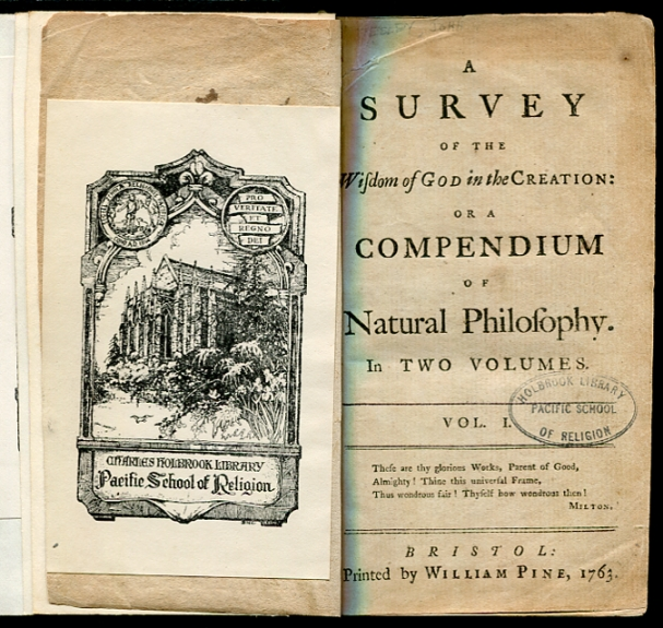 Image for A Survey of the Wisdom of God in the Creation: (1st Edition, 1763)  Or a Compendium of Natural Philosophy. In Two Volumes (Bound as One)
