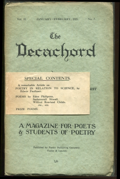 Image for The Decachord. Vol. II. January-February, 1925. No. 7 A Magazine for Poets & Students of Poetry