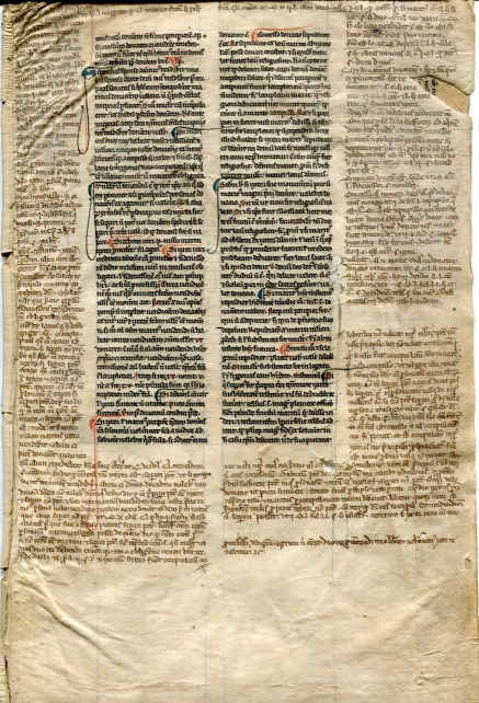 Image for Medieval Manuscript Leaf on velum Justinian Law, c1300, Folio, illustrated with a face