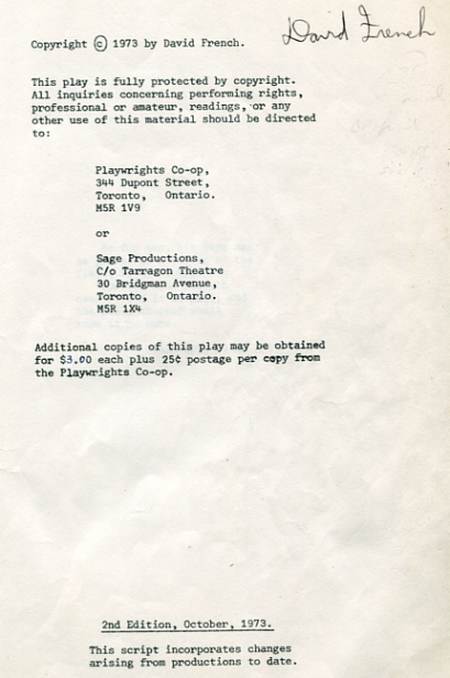 Image for Of the Fields, Lately; Original 1973 Script Signed by French, cast copy
