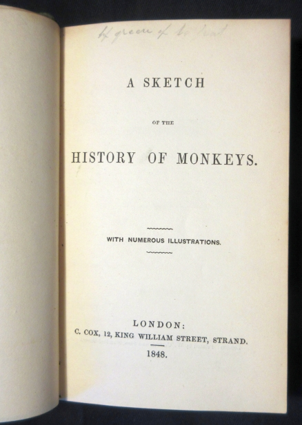 Image for A Sketch of the History of Monkeys BOUND WITH A Visit to the Western Coast of Norway