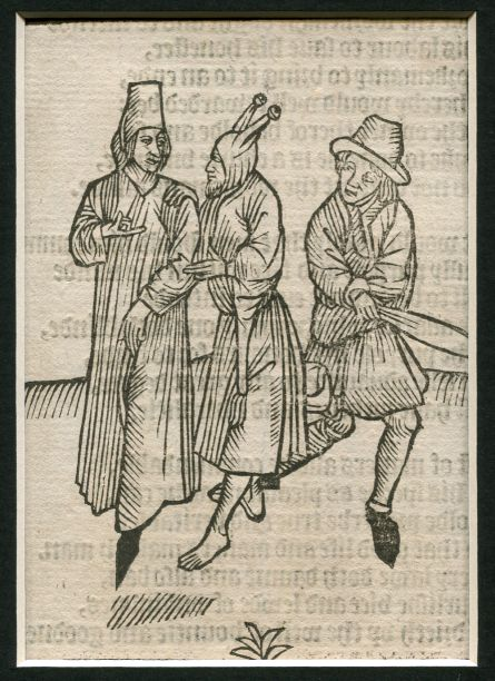 Image for WOODCUT: Ship of Fools: Two Men and the fool:  Stultifera Navis: The Ship of fooles: wherein is shewed the folly of all states…translated out of Latin into Englishe